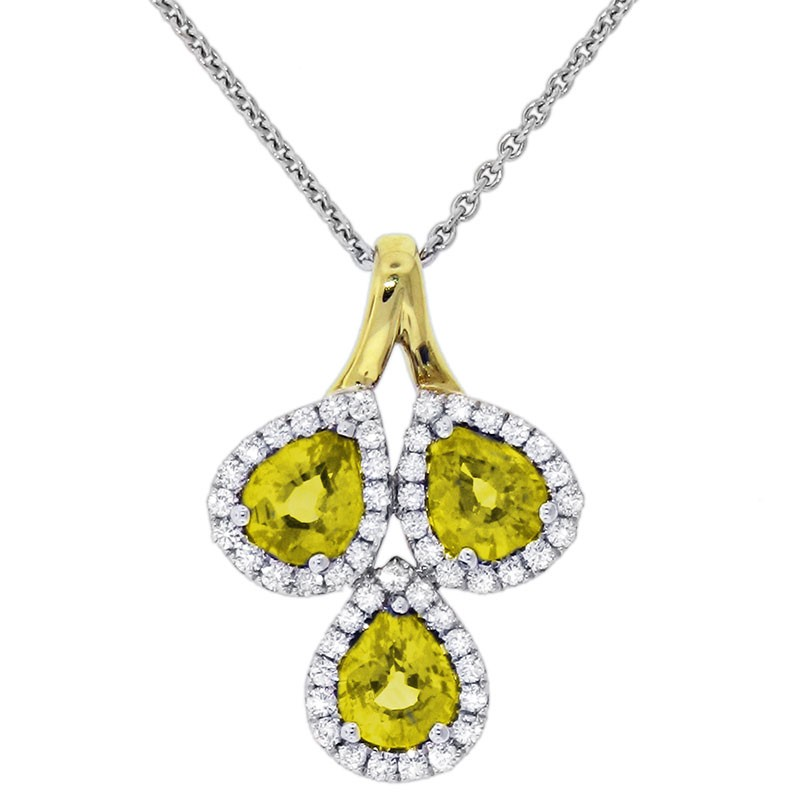Classic Color Diamond And Yellow Sapphire Pendant P 5543-YS