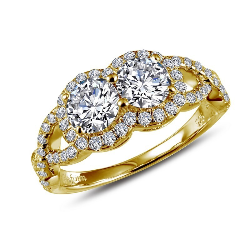 Lafonn Gold Plated Sterling Silver Two-Stone Ring