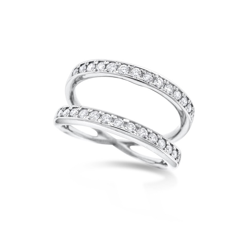 gold white double row band diamond ring eternity in top