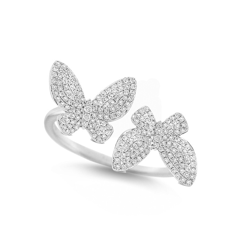 14K Gold and Diamond Double Butterfly Ring