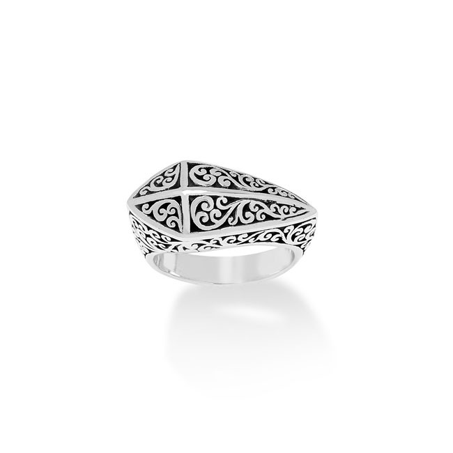 Classic & Edgy Signature Scroll Pyramid Ring