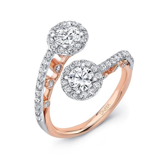 """Uneek """"La Notte Stellata"""" Two-Stone Diamond Ring with Round Halos and Pave Upper Shank in 14K White"""