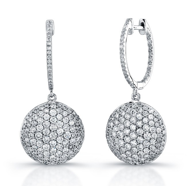 Uneek 18k White Gold Micro Pave Diamond Earrings E217