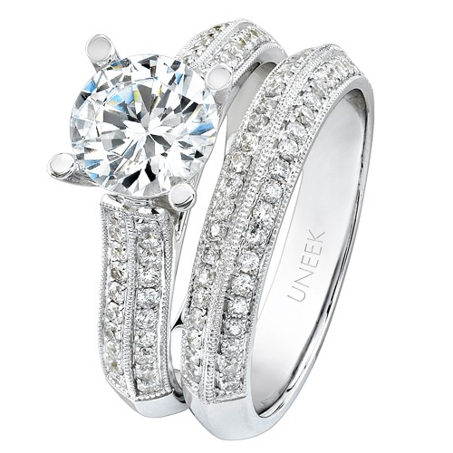 Bouquet Collection 18K White Gold Diamond Engagement Ring With Matching Band SW100