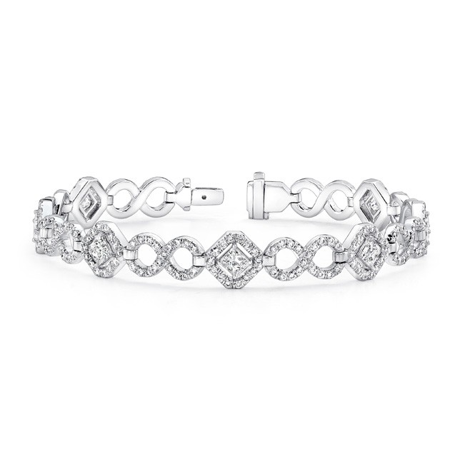 Uneek Princess Cut Diamond Bracelet With Infinity Style Pave Links In 18k White Gold