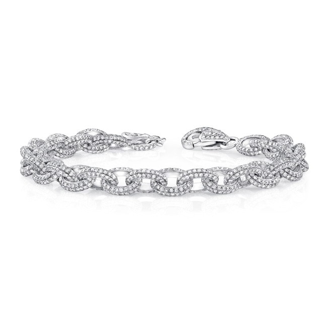 Uneek Clic Diamond Pave Link Bracelet In 18k White Gold