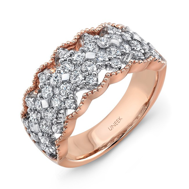 "Uneek ""Gossamer"" Open Lace Diamond Band in 18K Two-Tone Gold"