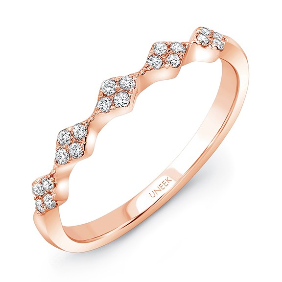 "Uneek ""Mulholland"" Stackable Diamond Band in 14K Rose Gold"