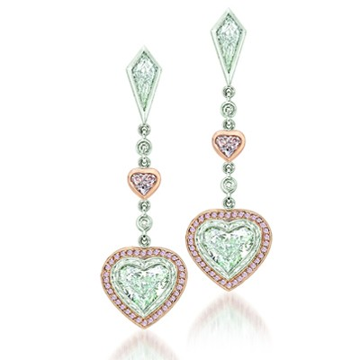 Uneek 18k White And Rose Gold Pink Diamond Heart Shaped Earrings Lve117