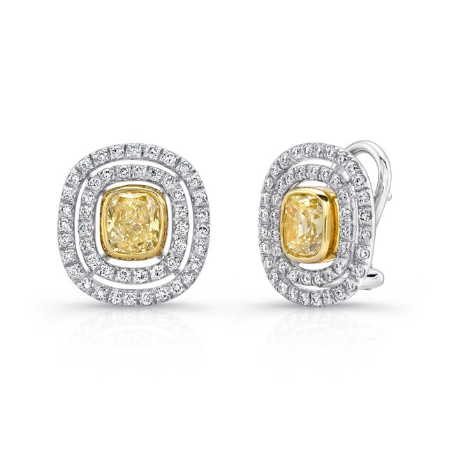 Uneek Cushion Yellow Diamond Double Halo French-Back Earrings, in Platinum and 18K Yellow Gold