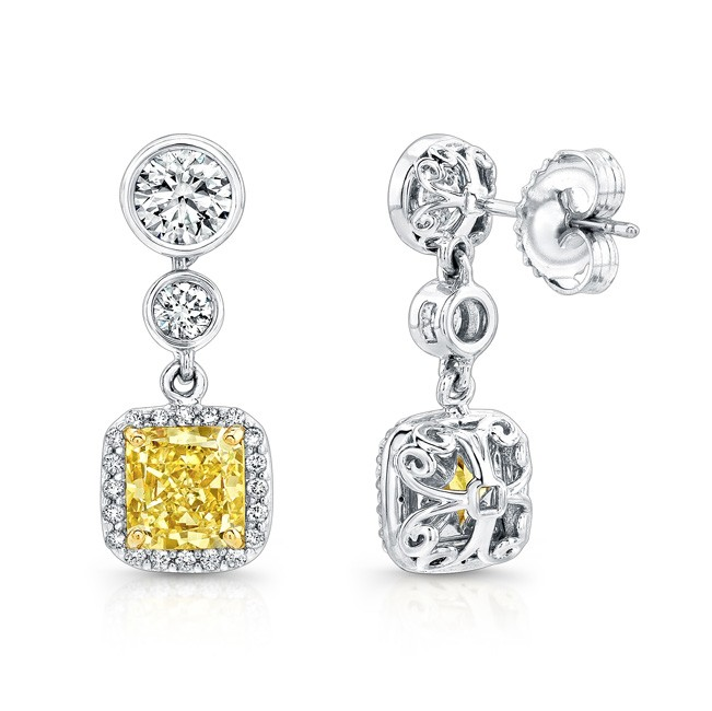 Uneek Radiant Cut Yellow Diamond Halo Dangle Earri