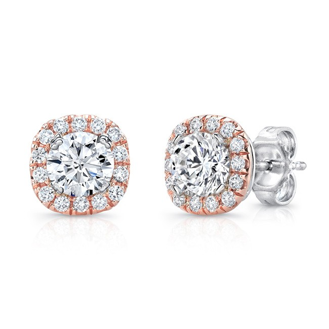 Uneek Round Diamond Stud Earrings with Cushion-Shaped Rose Gold Halos