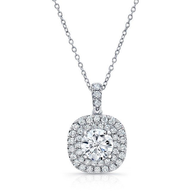 Uneek Round Diamond Pendant with Dreamy Cushion-Shaped Double Halo, in 14K White Gold