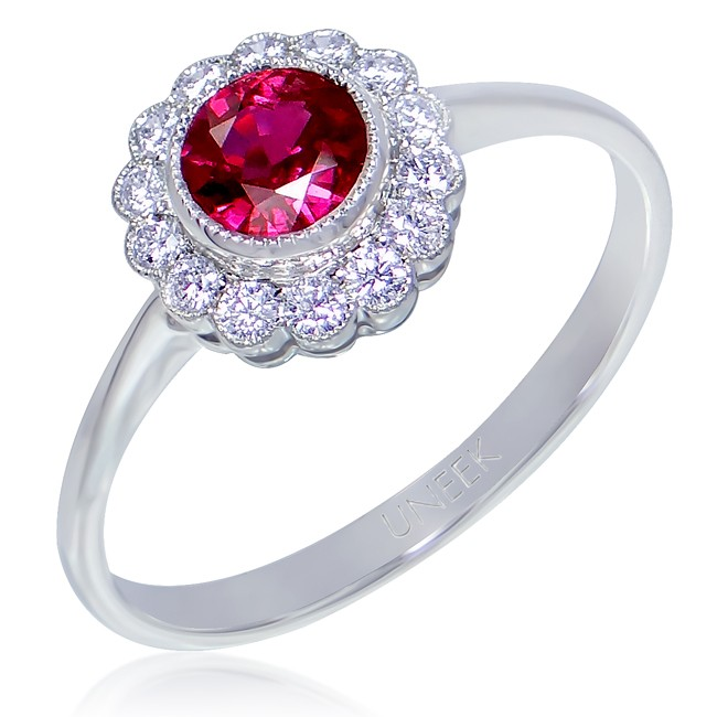 0dc560e2630f5a Uneek Bezel-Set Round Ruby Ring with Scalloped Diamond Halo and  Vintage-Style Milgrain, in 14K White