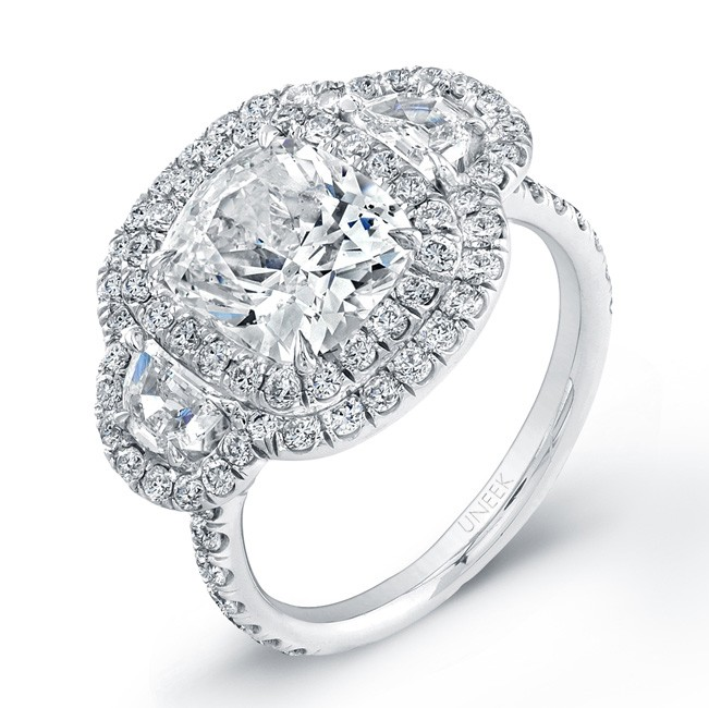 Uneek Contemporary Three-Stone Halo Engagement Ring, in Platinum