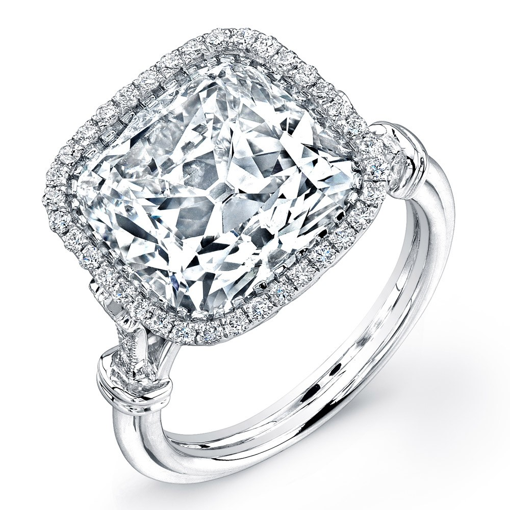 Uneek 7-Carat Cushion-Cut Diamond Halo Engagement Ring with Antique-Inspired Ornamented Gallery, in