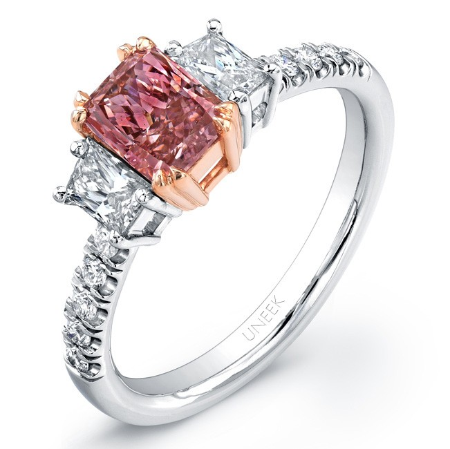 Uneek Three-Stone Engagement Ring with 1-Carat Radiant-Cut Fancy Intense Pink Center, in Platinum an