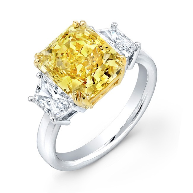 Uneek Three-Stone Engagement Ring with Radiant-Cut Fancy Yellow Diamond Center, in Platinum and 18K