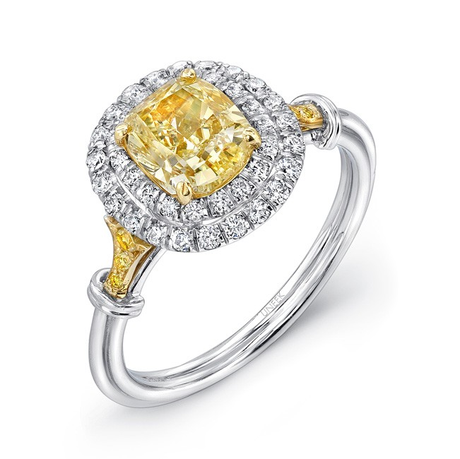 Uneek Cushion-Cut Yellow Diamond Engagement Ring with Double Micropave Halo, Fancy Yellow Diamond Si