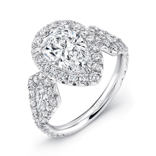 Uneek Pear-Center Three-Stone Engagement Ring with Pave Halo, in Platinum