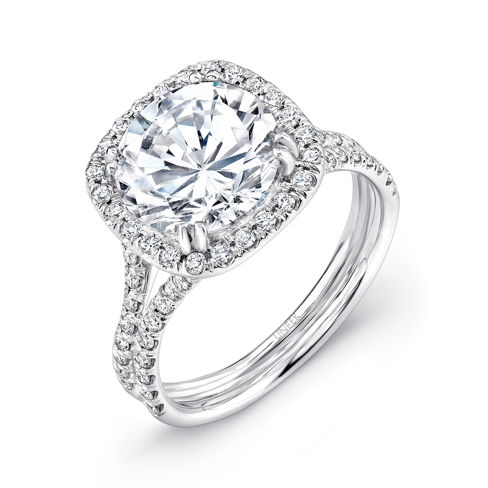 Uneek 3 Carat Round Diamond Engagement Ring With Cushion Shaped Halo And Pave Double Shank In 18k W