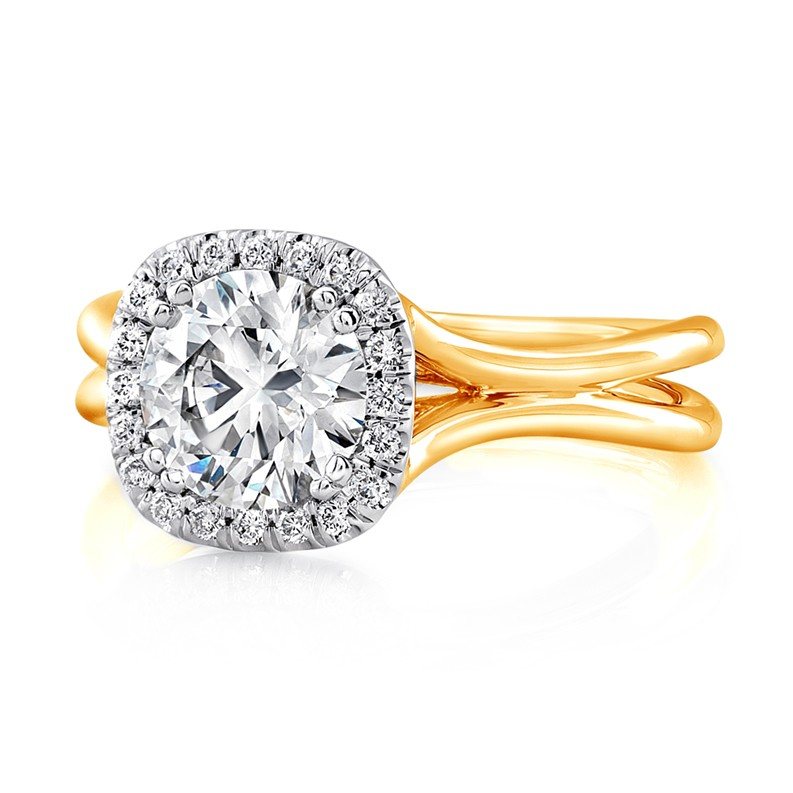 """Uneek Round Diamond Engagement Ring with Cushion-Shaped Halo in 14K White Gold and Signature """"Silh"""
