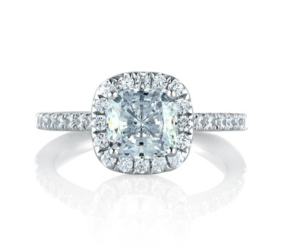 Cathedral Open Bridge Halo Cushion Engagement Ring