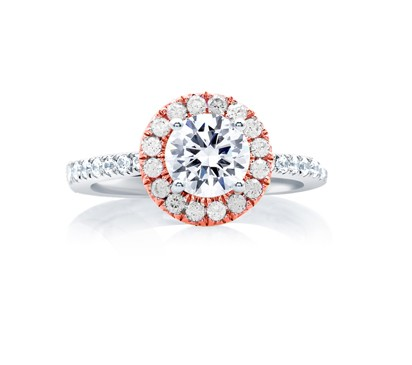 Center of My Universe™ Rose Gold Diamond Halo Engagement Ring