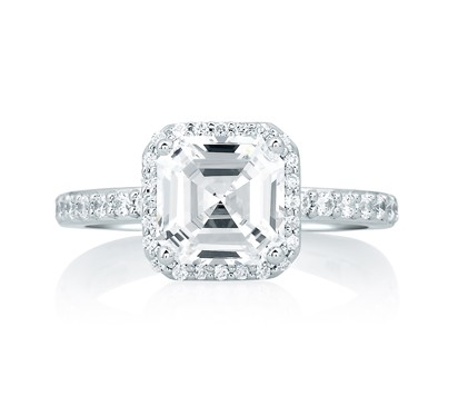 0bfa674ac8391 Deco Tower Halo Engagement Ring with Asscher Cut Diamond Center
