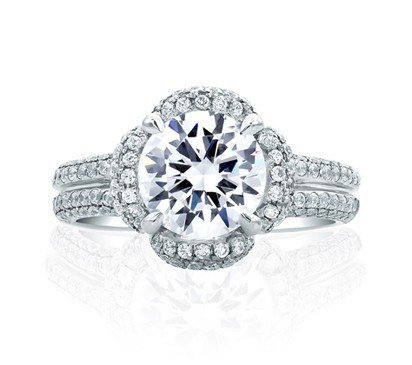 Floral Round Cut Delicate Pav? Bridal Engagement Ring