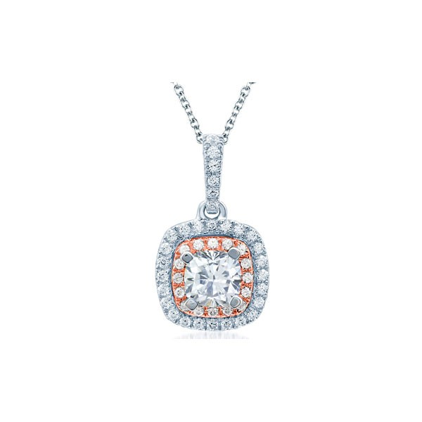 Double Halo Rose Gold Diamond Cushion Shape Pendant