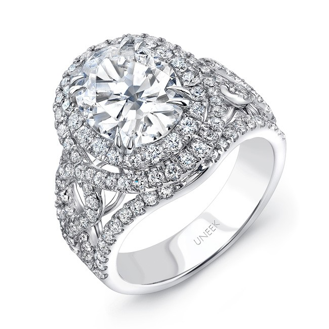 Uneek Oval Diamond Double Halo Engagement Ring with Pave CrissCross/Infinity Upper Shank, in 18K Whi