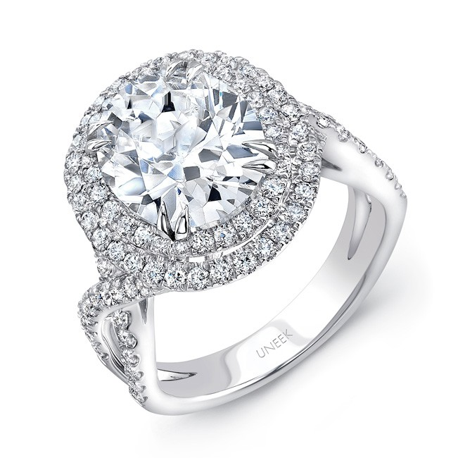 Uneek Oval Diamond Pave Double Halo Engagement Ring with Ribbon-Style Shank and Fleur-de-Lis Filigre