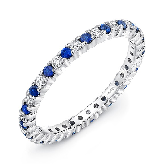 Uneek Diamond and Sapphire Eternity Band in 14K White Gold