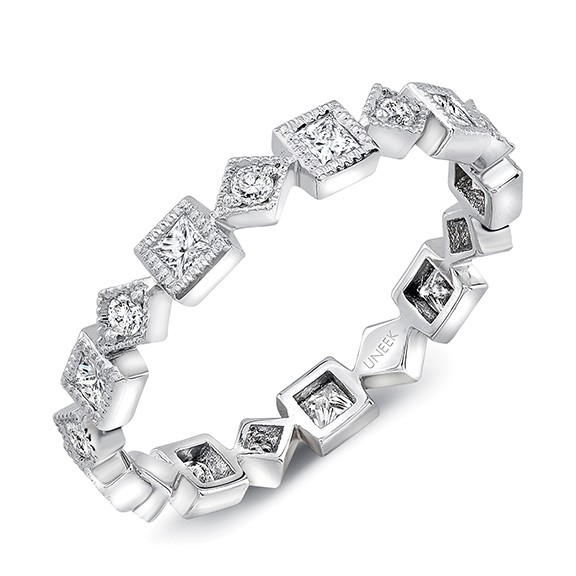 "Uneek ""Broadway"" Stackable Diamond Band in 14K White Gold"
