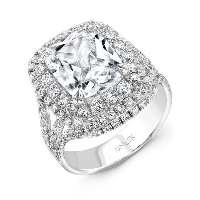 Uneek Cushion-Cut Diamond Multi-Halo Engagement Ring, in 18K White Gold