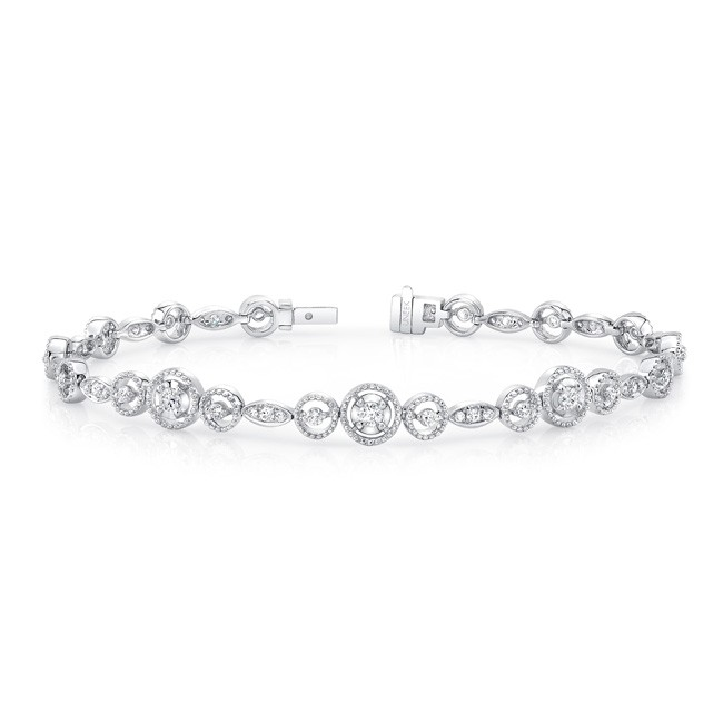 Uneek Round Diamond Bracelet With Mixed Size Bead Milgrain Floating Halo Details And Navette S