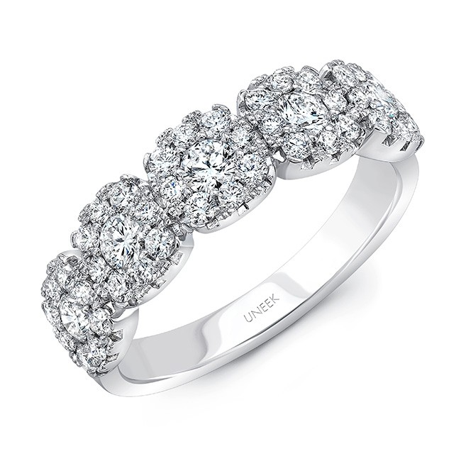 Uneek Diamond Anniversary Band with Cushion-Shaped Halos, in 18K White Gold