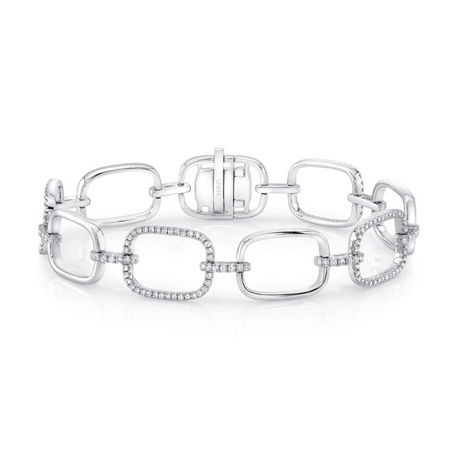 Uneek Modern Sophisticate Pave Diamond and High Polish Link Bracelet in 18K White Gold