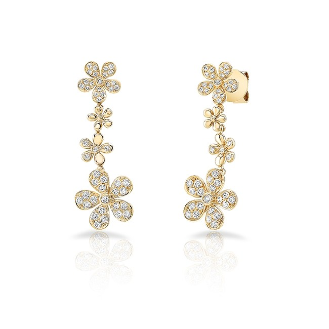 Uneek Cascade Collection Petite Floral Drop Earrings, in 18K Yellow Gold