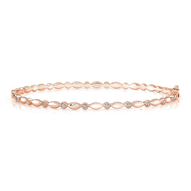 "Uneek ""Oriole"" Stackable Diamond Bangle in 14K Rose Gold"
