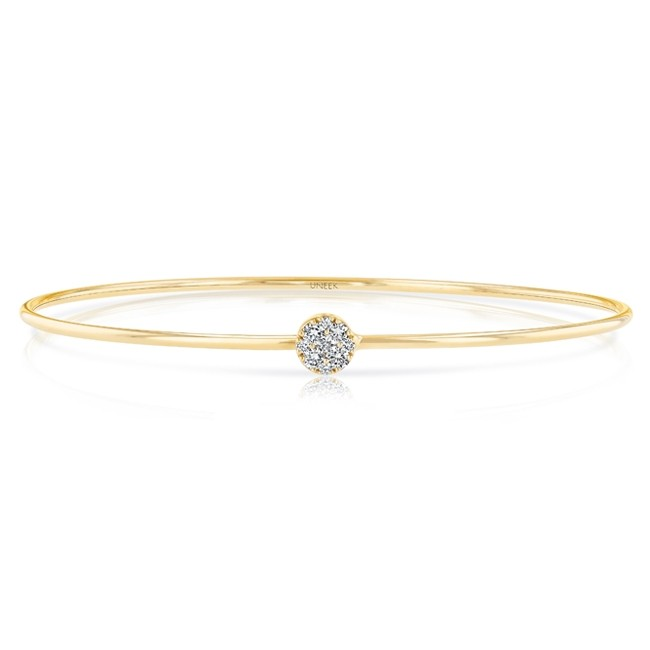 """Uneek """"Durant"""" Skinny Bangle with Round Diamond Cluster Accent, in 14K Yellow Gold"""