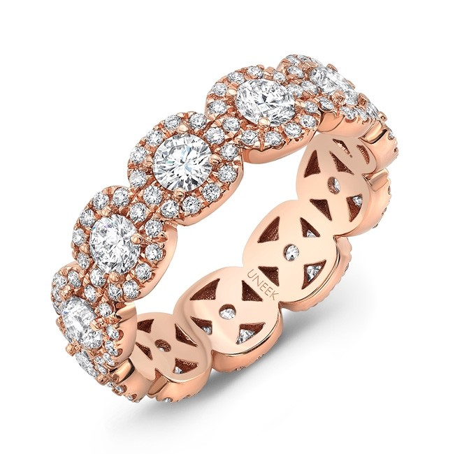 Uneek Round Diamond Eternity Band with Halo Details, in 18K Rose Gold