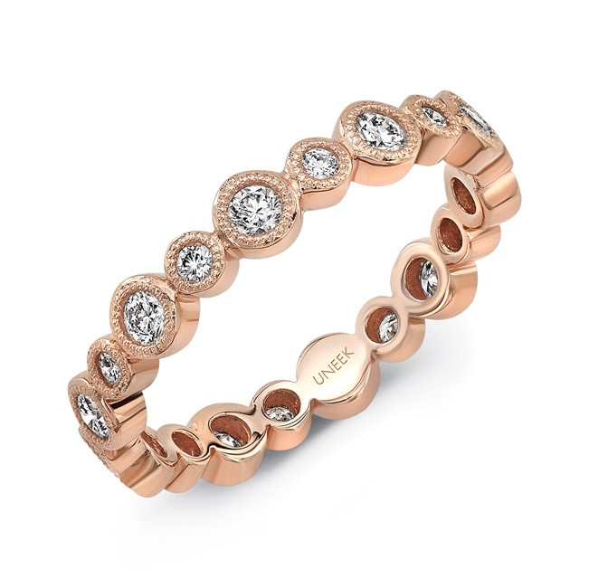 "Uneek ""Sierra Bonita II"" Stackable Diamond Band in 14K Rose Gold"