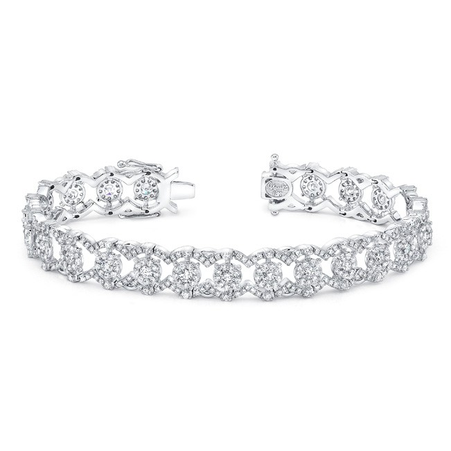 "Uneek ""Valenciennes de Ghent"" Open Lace Diamond Bracelet in 18K White Gold"