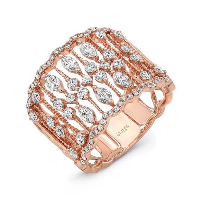 "Uneek ""Bayeux"" Open Lace Wide Diamond Band in 18K Rose Gold"