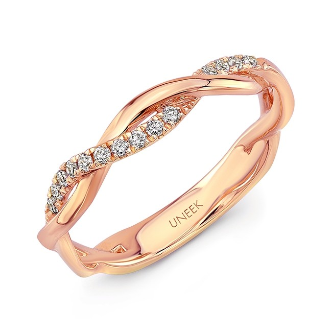 "Uneek ""Loma Linda"" Stackable Diamond Band in 14K Rose Gold"