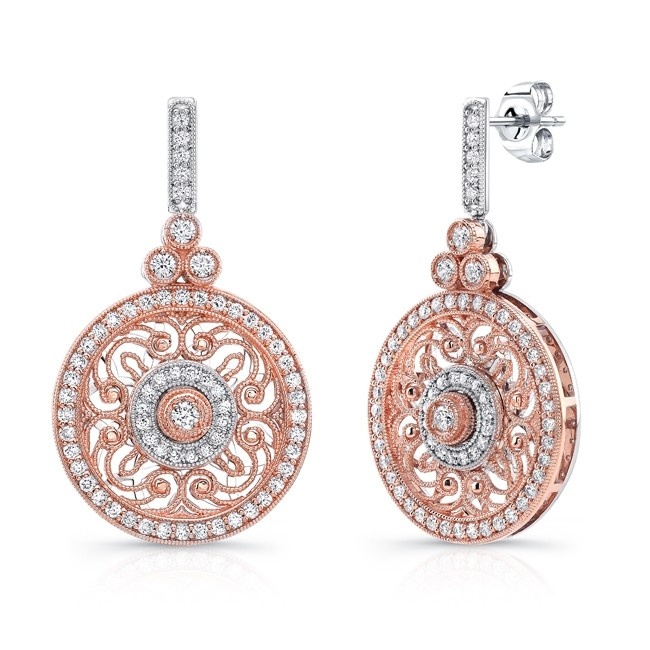 Uneek Vintage Inspired Round Filigree Diamond Dangle Earrings In 14k Two Tone Gold