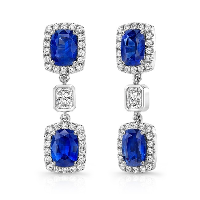 Uneek Cushion Cut Blue Shire Earrings With Radiant Diamond Accents In 18k White Gold