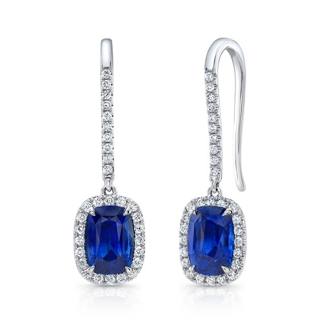 Uneek Cushion-Cut Blue Sapphire Earrings with Pave Diamond Halos, in 18K White Gold